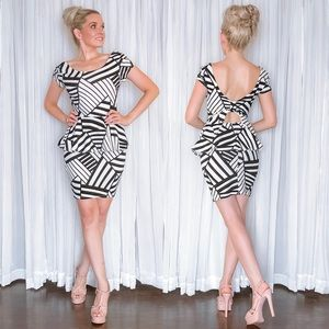Black White Fitted Peplum Dress